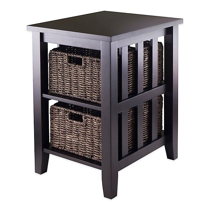Winsome Trading Morris End Table With Baskets In Dark Espresso Bed