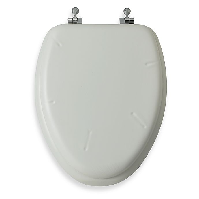 Alternate image 1 for Mayfair® White Elongated Cushioned Vinyl Soft Toilet Seat with Chrome Hinge
