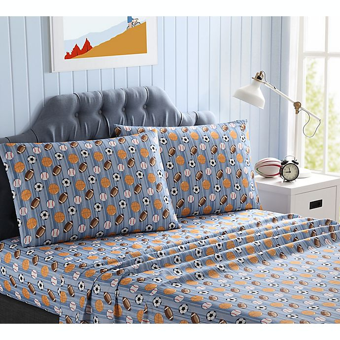 Alternate image 1 for Kute Kids Sports Striped Queen Printed Sheet Set in Blue