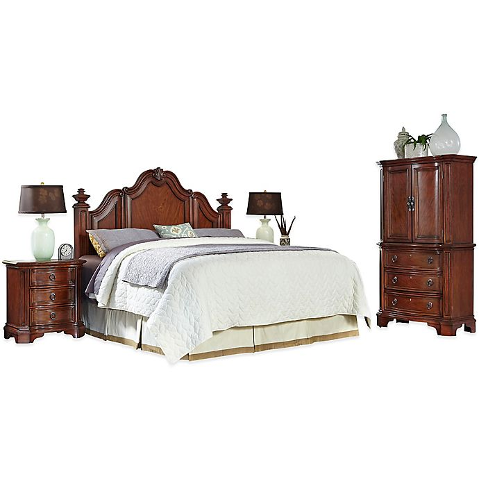 Alternate image 1 for Home Styles Santiago 4-Piece King/California King Headboard, Nightstands, and Door Chest Set