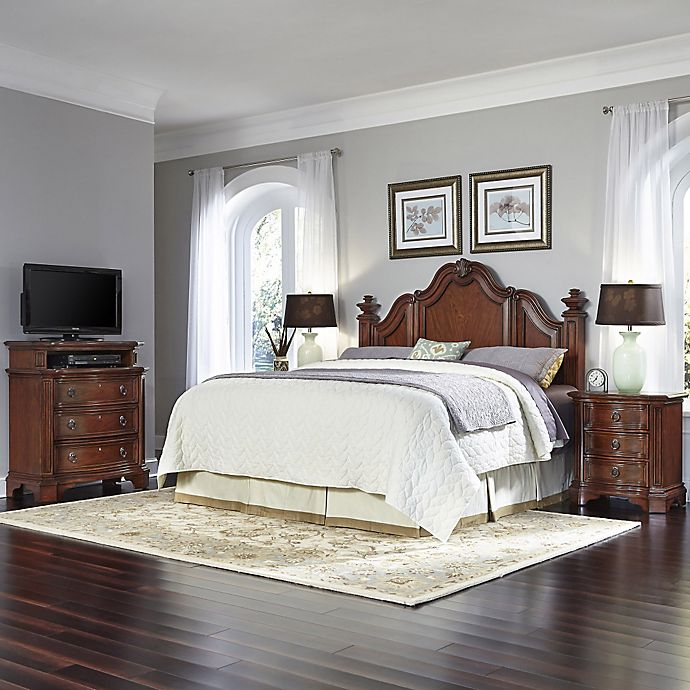 Alternate image 1 for Home Styles Santiago Wood 4-Piece King/California King Headboard, Nightstands and Media Chest Set