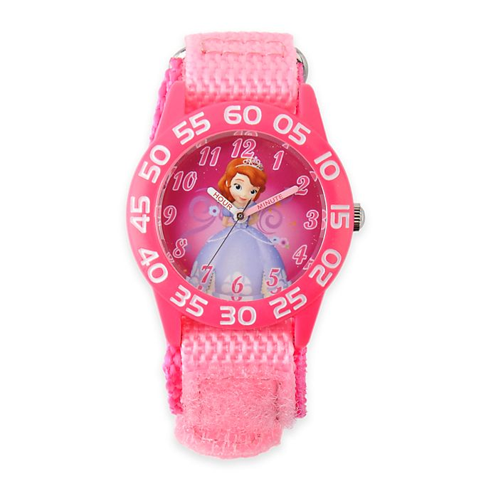 Alternate image 1 for Disney® Sofia Children's 32mm Time Teacher Watch with Pink Nylon Strap
