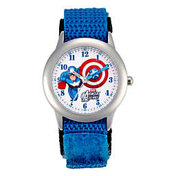 Marvel Children's 32mm Captain America Time Teacher Watch in Stainless Steel with Blue  Nylon Strap