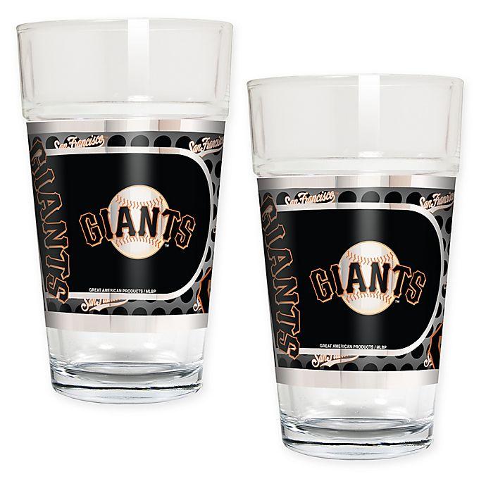 Alternate image 1 for MLB San Francisco Giants Metallic Pint Glass (Set of 2)