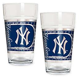 MLB New York Yankees Metallic Pint Glass (Set of 2)