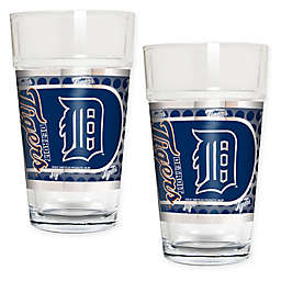 MLB Detroit Tigers Metallic Pint Glass (Set of 2)
