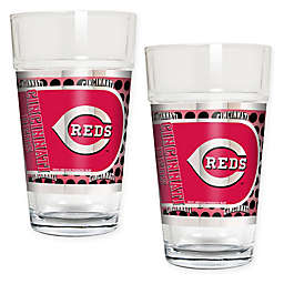 MLB Cincinnati Reds Metallic Pint Glass (Set of 2)