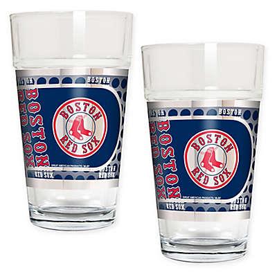 MLB Boston Red Sox Metallic Pint Glass (Set of 2)