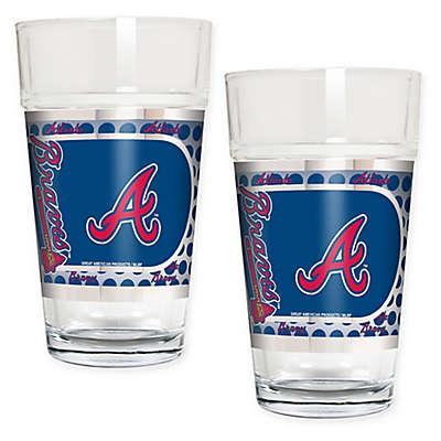 MLB Atlanta Braves Metallic Pint Glass (Set of 2)