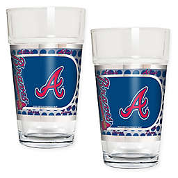 MLB Atlanta Braves Metallic Pint Glass (Set of 2)