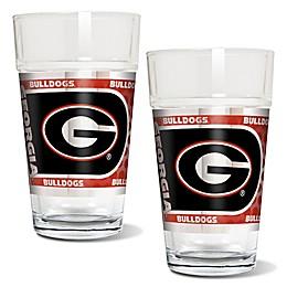 University of Georgia Metallic Pint Glass (Set of 2)