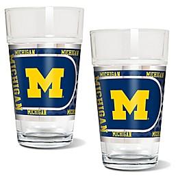 University of Michigan Metallic Pint Glass (Set of 2)