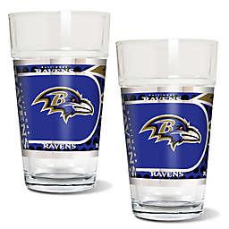 NFL Baltimore Ravens Metallic Pint Glass (Set of 2)