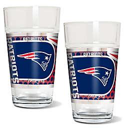 NFL New England Patriots Metallic Pint Glass (Set of 2)