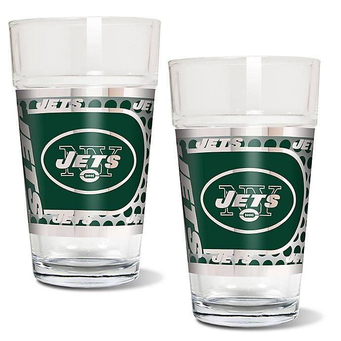 Alternate image 1 for NFL New York Jets Metallic Pint Glass (Set of 2)