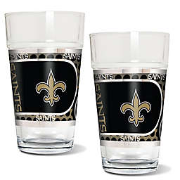 NFL New Orleans Saints Metallic Pint Glass (Set of 2)