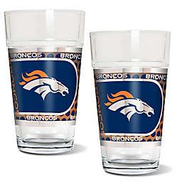 NFL Denver Broncos Metallic Pint Glass (Set of 2)