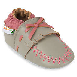 MomoBaby Leather Soft Sole Shoe in Grey/Pink