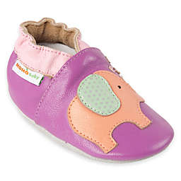 MomoBaby Elephant Leather Soft Sole Shoe in Purple