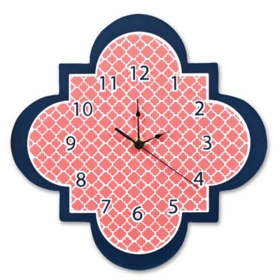 Trend Lab 174 Quatrefoil Wall Clock In Coral Buybuy Baby
