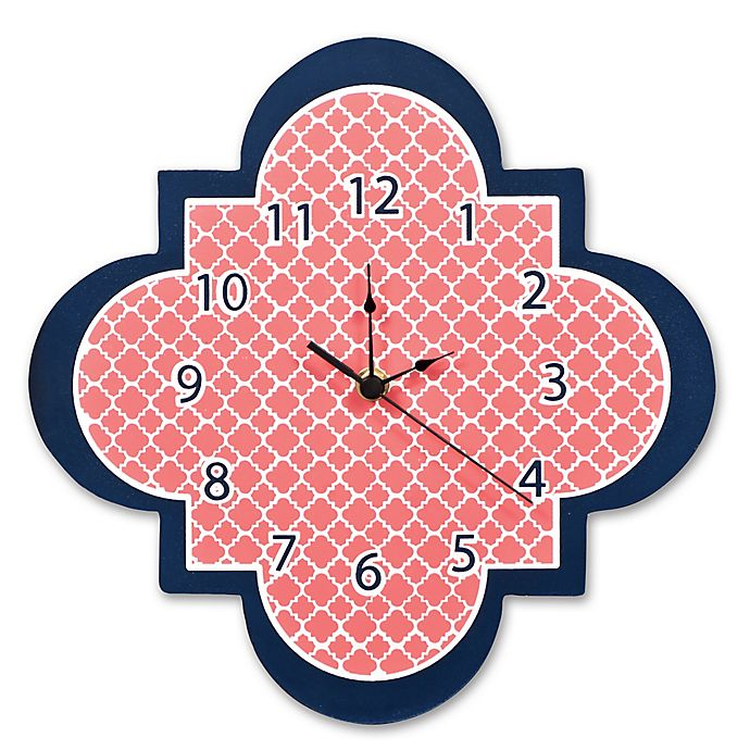 Trend Lab 174 Quatrefoil Wall Clock In Coral Bed Bath Amp Beyond