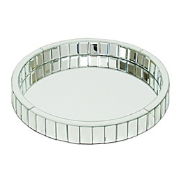 Wayborn Beveled Mirror Round Vanity Tray in Silver