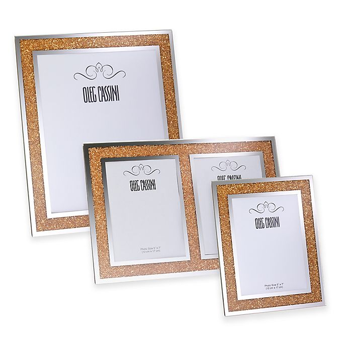 Oleg Cassini Crystal Diamond Gold Picture Frame Collection Bed
