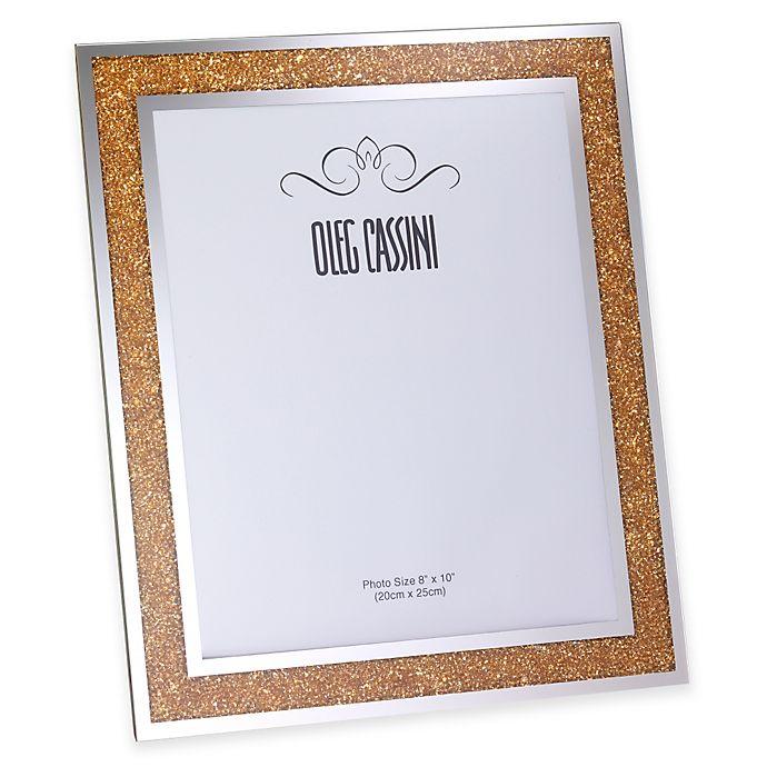 Alternate image 1 for Oleg Cassini Crystal Diamond Gold 8-Inch x 10-Inch Picture Frame