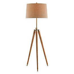 ELK Lighting Dreyer Tripod Floor Lamp with Linen Shade in Brown/Natural