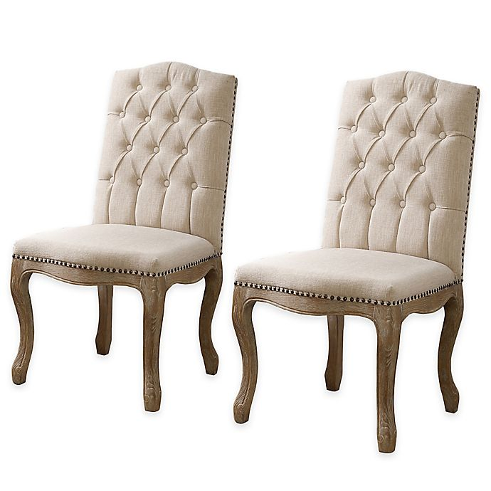 Tufted Dining Bench With Back: Shiraz Linen Tufted Wood Back Dining Chairs In Natural