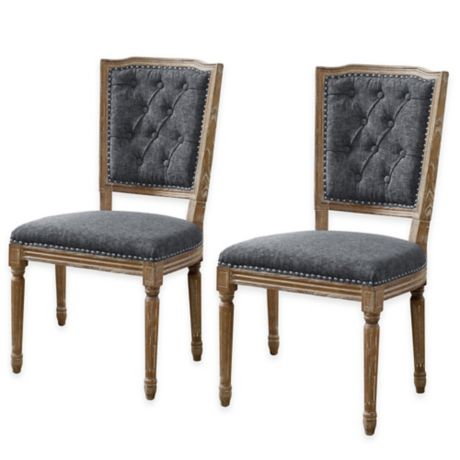 Shiraz Tufted Back Side Dining Chairs In Charcoal Set Of