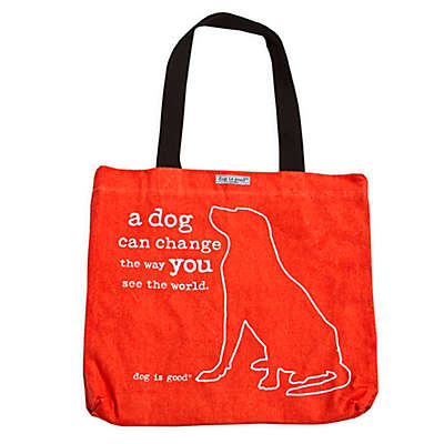 "Dog is Good® 16-Inch ""A Dog Can Change the Way You See the World"" Tote in Tangerine"