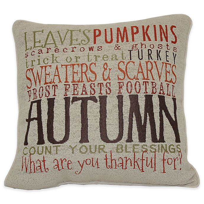 Alternate image 1 for Autumn Word Square Throw Pillow in Taupe
