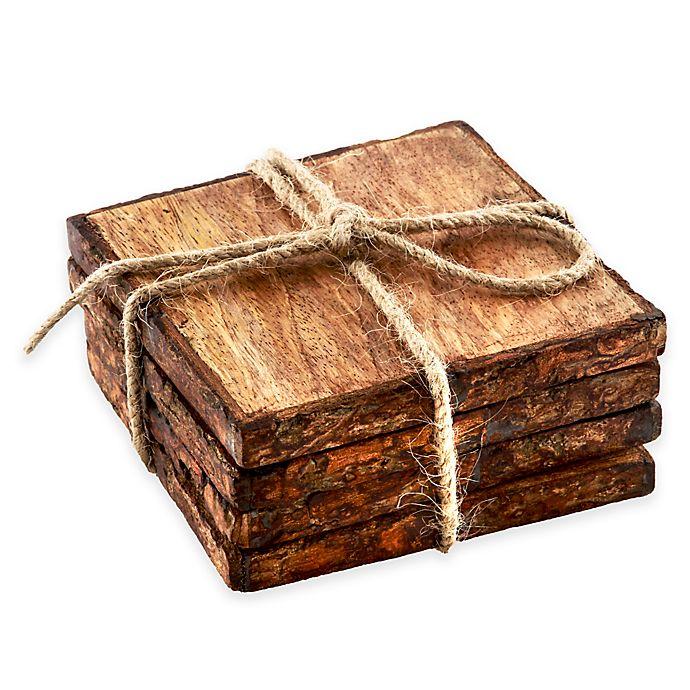 Alternate image 1 for Thirstystone® Square Mango Wood Bark Coasters (Set of 4)