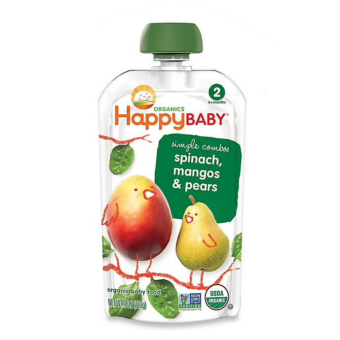 Alternate image 1 for Happy Baby™ 3.5 oz. Stage 2 Organic Baby Food in Spinach, Mango & Pear