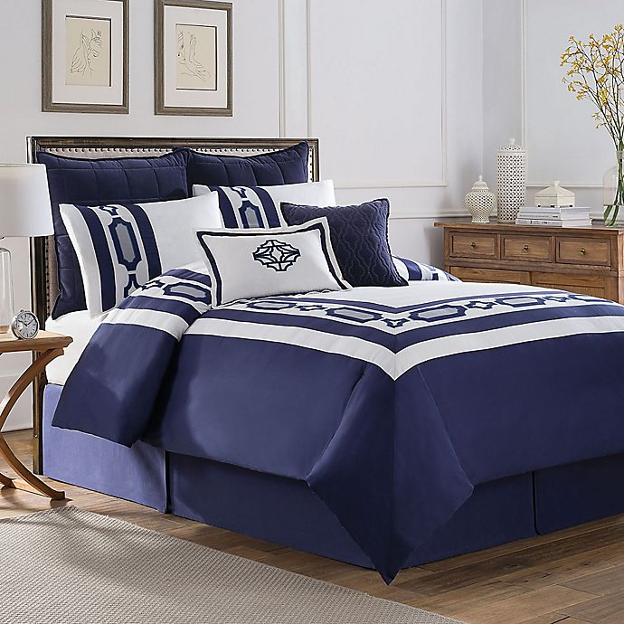 Alternate image 1 for Soho New York Home Hotel Embroidery Comforter Set in Blue