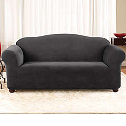 Sure Fit® Stretch Pixel Corduroy 1-Piece Sofa Slipcover in Black