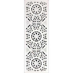 Decorative Medallion Panel Wall Mirror in White