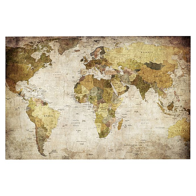 Alternate image 1 for Golden Map of the World by Belle Maison Cnvs Prnt
