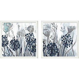 21.12-Inch Square Floral Framed Wall Art in Indigo (Set of 2)