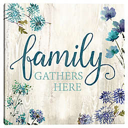 """Family Gathers Here"" Typography Wall Art"