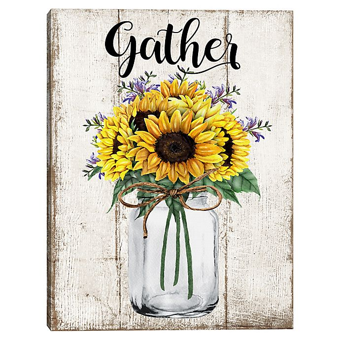 Alternate image 1 for Gather Sunflowers 18-Inch x 24-Inch Typography Canvas Wall Art