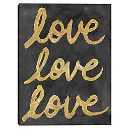 Masterpiece Art Gallery 24-Inch x 18-Inch Love Love Love Canvas Wall Art in Black