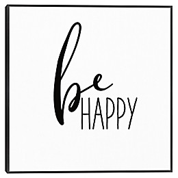 Be Happy 25-Inch Square Framed Canvas Wall Art
