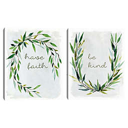 Masterpiece Art Gallery 2-Piece Faith and Kind Greenery Canvas Wall Art Set in Grey