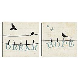 Bird Talk Dream and Hope Canvas Wall Art (Set of 2)