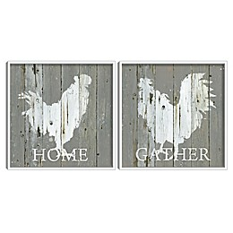 Masterpiece Art Gallery 2 Piece Galvanized Roosters Framed Canvas Wall Art Set in Grey