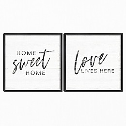 Home Inspiration I and II Framed Canvas Wall Art (Set of 2)