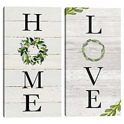 Home and Love Panel Canvas Wall Art (Set of 2)