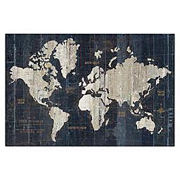 Masterpiece Art Gallery World Map Blue 24-Inch x 36-Inch Canvas Wall Art